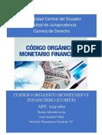 Resumen Codigo Organico Monetario y Finaciero.(Ecuador) Art-196-259