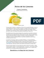 Beneficios de Los Limones
