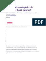 El Imperativo Categórico de Immanuel Kant