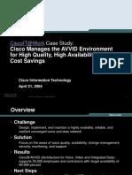 Cisco IT Case Study AVVID Management-projection