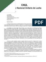 Carta al Papa Francisco de las organizaciones gremiales, politicas y sociales que conforman el Comando Nacional Unitario de Lucha - CNUL