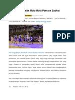 Berikut adalah Info Tinggi Badan Rata-rata pemain basket indonesia