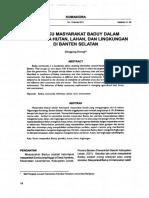 Perilaku Masyarakat Baduy Dalam Menge Lola Hutan, Lahan, Dan Lingkungan Di Banten Selatan