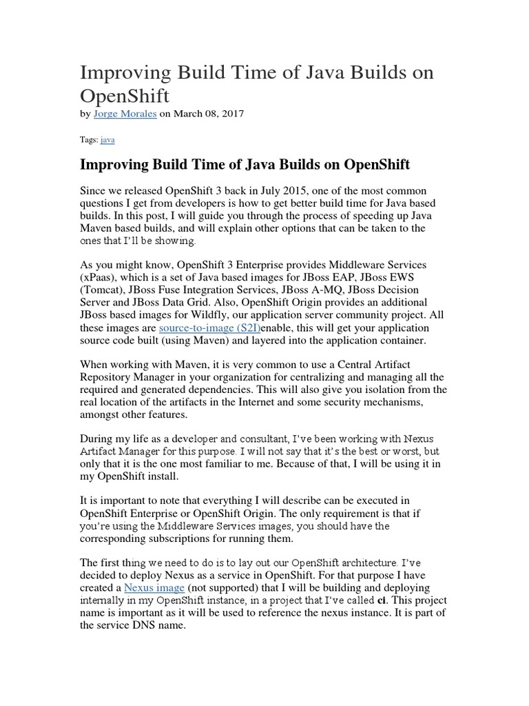 Improving Build Time of Java Builds on OpenShift docx | Java
