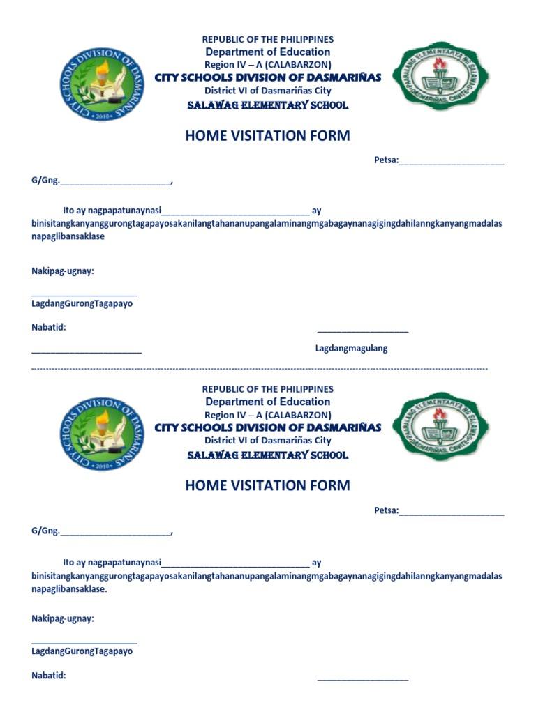 Home Visitation Form At Iba Pa Docx