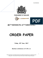 Order Paper - Friday, 30th June, 2017