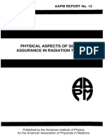 AAPM Report No. 13 Physical Aspects of Quality Assurance in Radiation Therapy