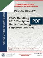 TSA's Handling of 2015 Disciplinary Process