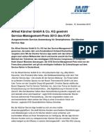 13 11 15 PI Kaercher Gewinnt KVD Service-Management-Preis 2013