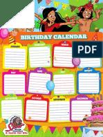 Blank Birthday Calendar Template