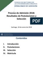Resultados Postulaciones y Selección Admisión 2018