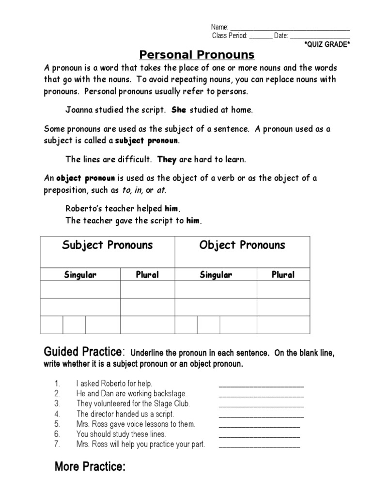 Pronouns Unit -Notes and Practice   Grammatical Gender   Grammatical ...