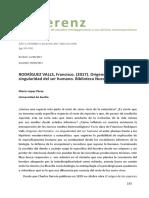 13. LÓPEZ Pérez, Antonio - RODRÍGUEZ VALLS, Francisco, Orígenes Del Hombre (Reseña)