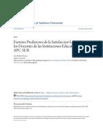 Factores Predictores de La Satisfaccion Laboral en Los Docentes d