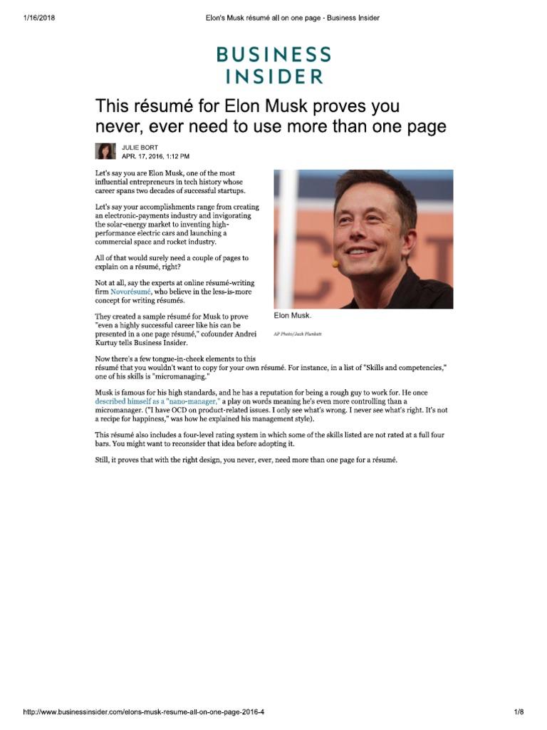 Elon\'s Musk Résumé All on One Page - Business Insider