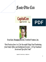 Evan H. Katz -- ''How to Raise Capital From Family Offices and Institutional Investors'' -- Presentation at the ''CapitalCon'' Family Office and Fundraising Conference (8!9!17)