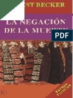 La Negacion de La Muerte - Becker, Ernest