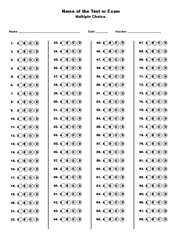 multiple choice bubble sheet template customize this word