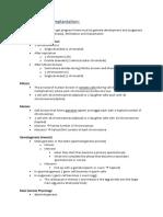 Fertilisation Implantation Notes
