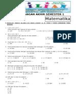 Soal UAS Matematika Kelas 5 SD Semester 1 ( Ganjil ) Dan Kunci Jawaban