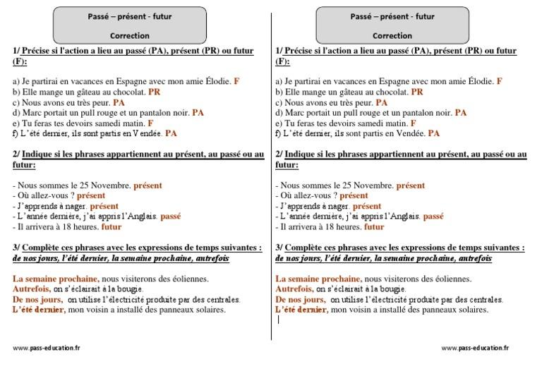 Correction 1 Passe Present Futur Ce2 Exercices Corriges Conjugaison Cycle 3 Energie Et Ressources Nature