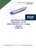 Spesifikasi Teknis Kapal Ikan 3 GT Tipe VL(1)