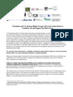Carta en la que piden que no se certifique a Colombia