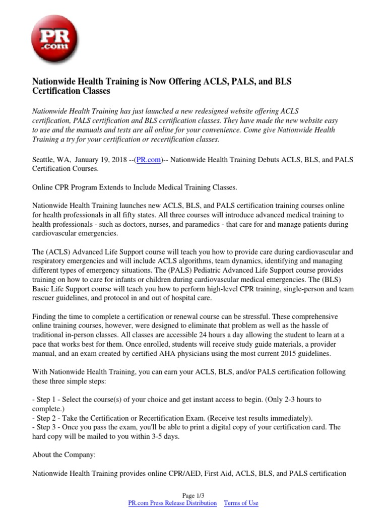 Nationwide Health Training Is Now Offering Acls Pals And Bls