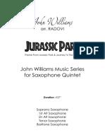 Jurassic Park - John Williams [Saxophone Quintet] Score & Parts