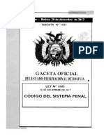 Codigo Sistema Penal Bolivia Ley 1005