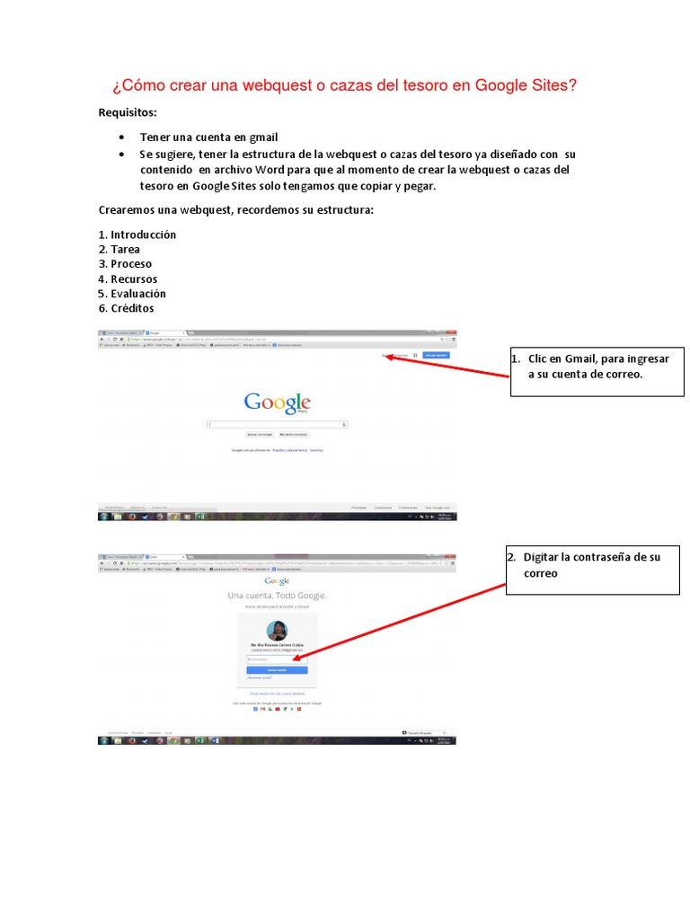 Manual Para Crear Una Webquest En Google Sites Informática Computadoras