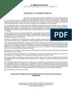 COMUNICADO A LA OPINION PUìBLICA 19 DE ENERO