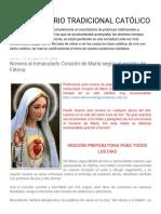 COSTUMBRARIO TRADICIONAL CATÓLICO_ Novena Al Inmaculado Corazón de María Según El Espíritu de Fátima