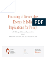 Financing of Renewable Energy in India - Implications for Policy