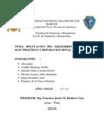 Regulacion Del Equilibrio Hídrico y Electrolítico. Depuración Renal