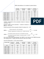 Example of CGPA & SGPA Calculations