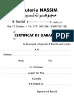 Bijouterie- Certificat de Garantie