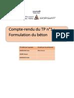 Tp matériau formulation du béton