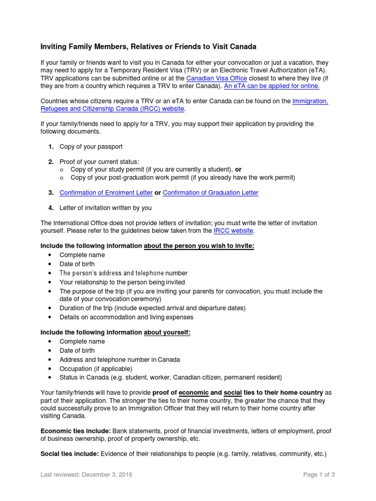 Letter Of Invitation For Canada Temporary Resident Visa Cultural