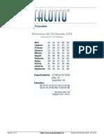 Estrazioni del Lotto Italiano di sabato 20 Gennaio 2018