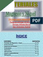 Trabajo del niquel y el magnesio Tecnología Materiales