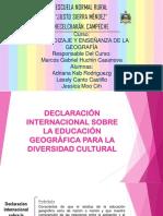 Declaración Internacional Sobre La Educación Geográfica Para La