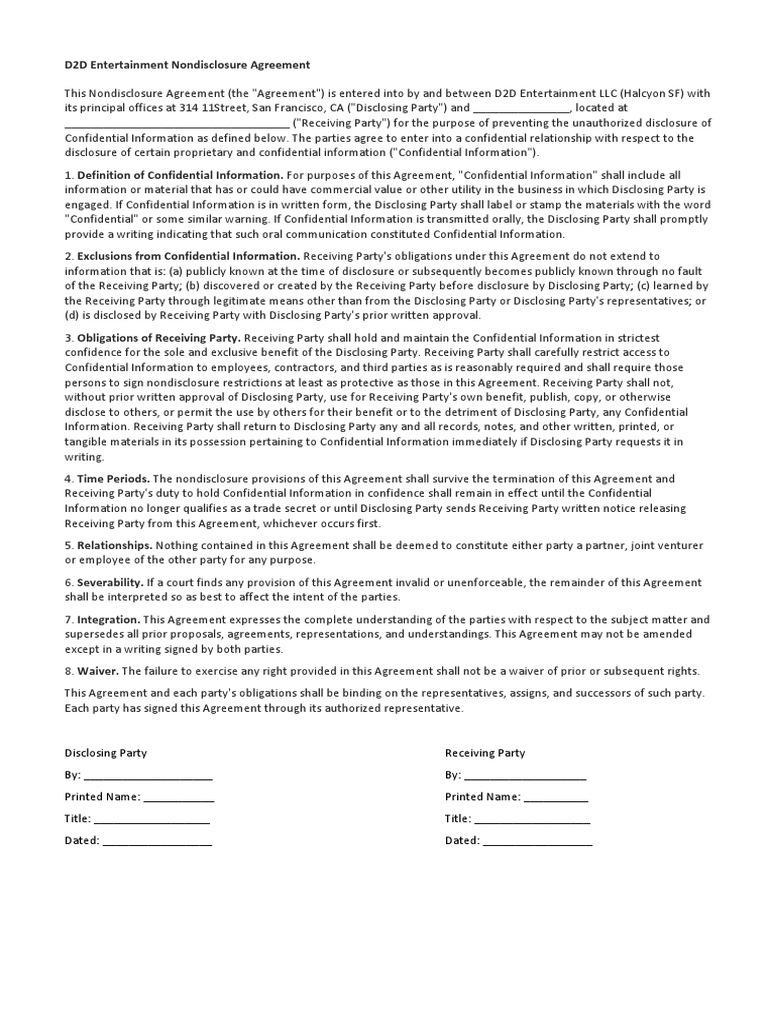 D2d Entertainment Nondisclosure Agreement Non Disclosure