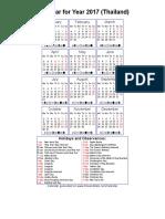 Year 2017 Calendar – Thailand