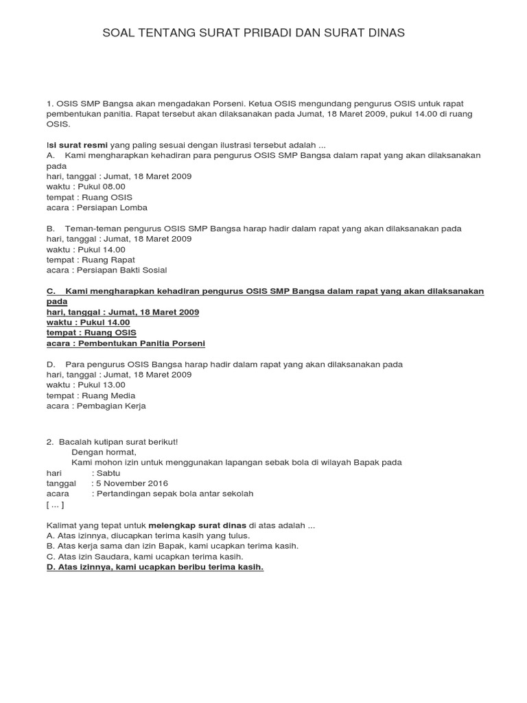 Soal Tentang Surat Pribadi Dan Surat Dinas