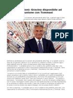 Elezioni Presidente Figc Gravina Disponibile Ad Un'Unione Con Tommasi