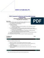 Computer Architecture and Assembly Language Programming - CS401Fall 2004 Final Term Paper