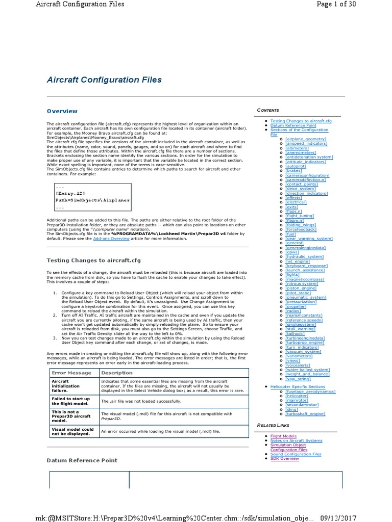 Aircraft Config | Flight Dynamics (Fixed Wing Aircraft) | Flight