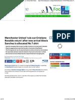 Manchester United 'Rule Out Cristiano Ronaldo Return'