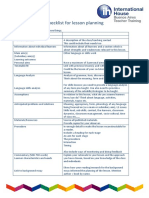 Checklist for Lesson Planning & Writing Aims